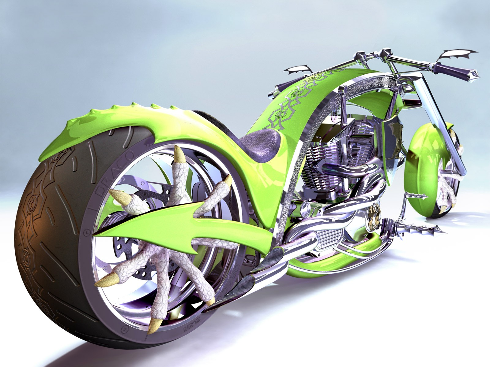 мотоцикл зеленый помещение скачать